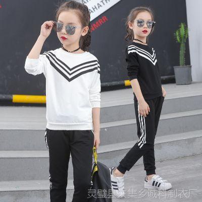 新款厂家直销一件代发女童套装 女韩版长袖两件套休闲童春季卫衣