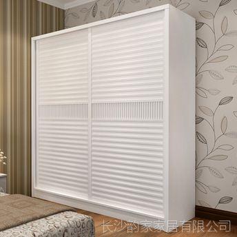 推拉门衣柜简约现代移滑门卧室木质2门大衣橱 板式趟门储物柜