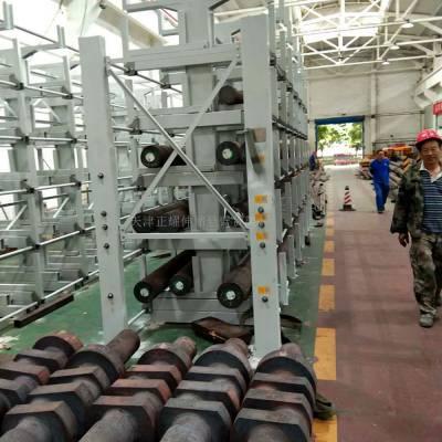 山东伸缩式管材货架价格 钢材库使用案例 不用叉车 节省空间