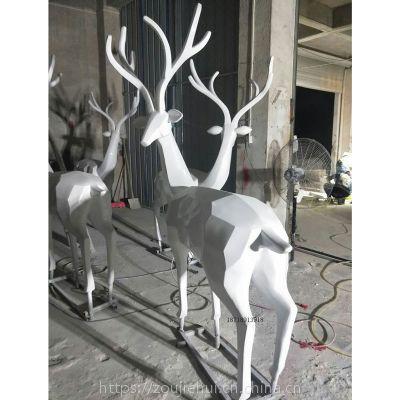 地产园林公园草地景观动物雕塑 抽象几何造型玻璃钢圆雕鹿鹿生财