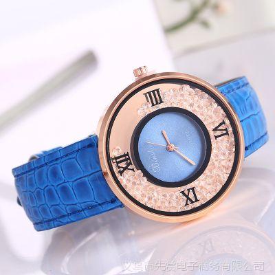 新款批发 流沙钻时尚女士手表 滚珠速卖通外贸爆款皮带镶钻女表