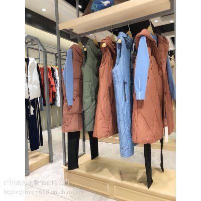 当季新款时尚一叶方舟品牌折扣女装便宜羽绒棉马甲货源走份批发