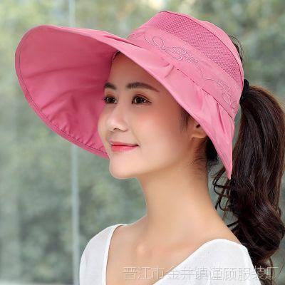 顶帽女式沙滩妇女夏季遮阳帽女 户外 防晒大沿鸭舌帽凉草帽头顶露