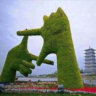 大型适合各种绿化环境摆放的仿真绿雕,假植物大公主王子雕塑