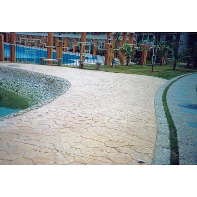 潍坊峡山彩色艺术压模压花地坪 样式新颖 颜色亮丽 亚斯特