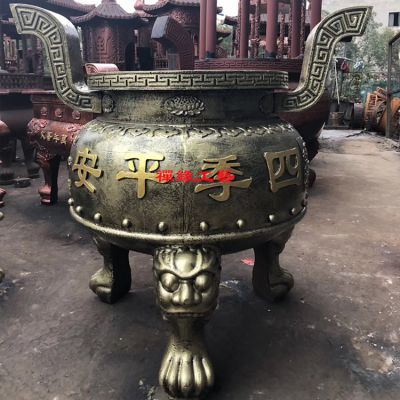 祖堂铸铁圆形平口香炉 湖南常德念佛堂香炉供应商