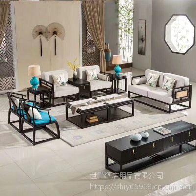 安徽酒店徽派家具 会所新中式沙发餐厅包厢实木组合沙发