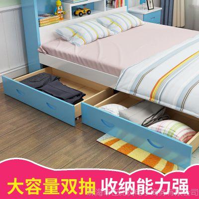 儿童床女孩公主床多功能实木书架床1.5米小孩床1.2米男孩单人床