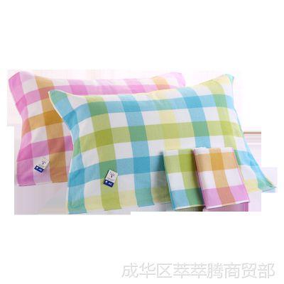 纯棉纱布枕巾夏季清凉薄款一对枕夏天夏凉头巾用的成人布巾帕