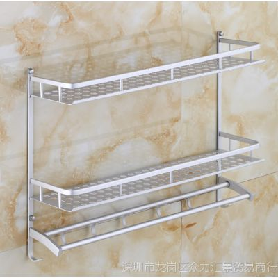 太空铝浴室置物架洗澡间1/2/3层双层卫生间洗漱台淋浴房壁挂墙上