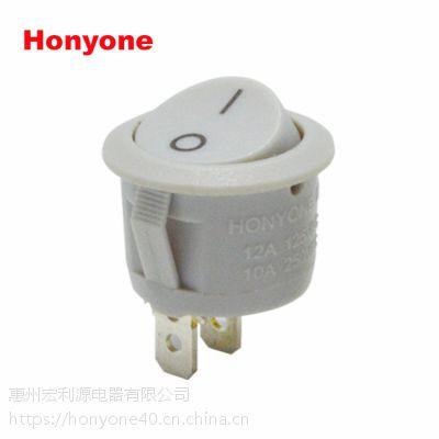 HONYONE 供应MR5三脚二档带灯船形开关 20MM圆形翘板开关 UL CQC认证齐全