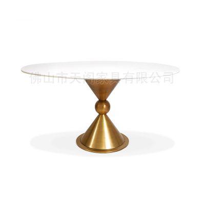 现代简约圆形餐桌金色不锈钢洽谈桌 大理石餐桌 售楼部接待餐桌