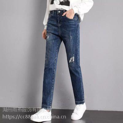 展销会货源牛仔裤批发 三门峡市厂家直销地摊夜市牛仔裤 低价女装批发