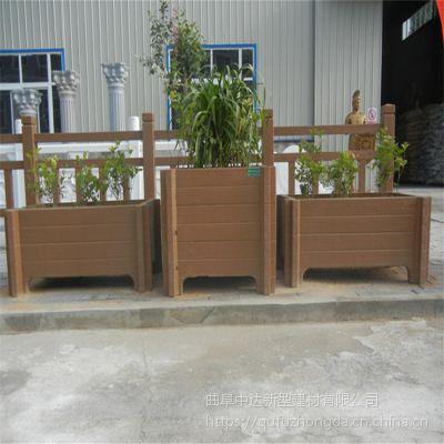 混凝土仿木纹预制景观摆放花箱花桶 大型景观工程专用盆景