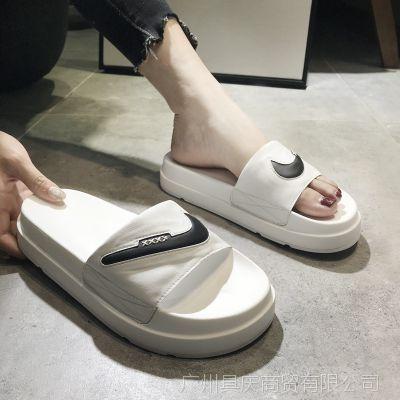 欧洲站夏季凉拖新款真皮拖鞋露趾厚底高跟学生松糕懒人一字型拖鞋