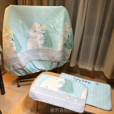 春夏卡通天丝软席三件套空调凉席子