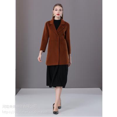 楚贝尔2018秋冬焦糖色羊毛大衣女小个子双面呢中长款修身毛呢子外套