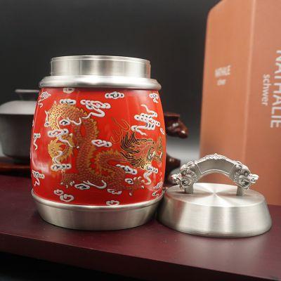 锡制品礼品中工龙腾盛世红瓷茶叶罐金属工艺品锡器定制厂家直销