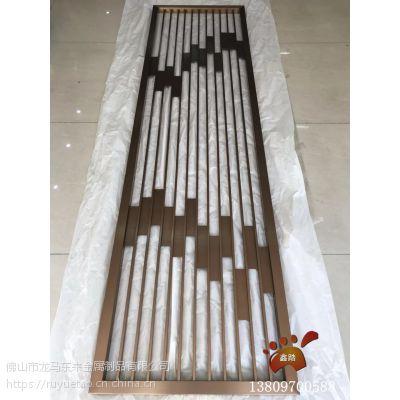 四川酒店拉丝玫瑰金不锈钢屏风中间点焊封板 现代新中式图