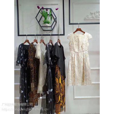 真丝连衣裙折扣一手货源 品牌女装折扣尾货批发 高端真丝连衣裙