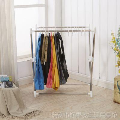 X型落地式晾衣架 多功能移动裤架家居用品可折叠收纳晒衣架