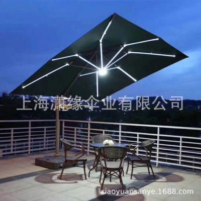 LED庭院伞、手摇太阳能灯太阳伞定制