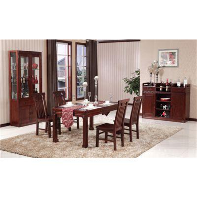 供应木言木语中式实木餐桌椅组合 高档富贵红色餐桌椅热销中