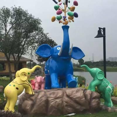广东玻璃钢彩绘动物卡通雕塑造型 佛山玻璃钢雕塑厂家定制