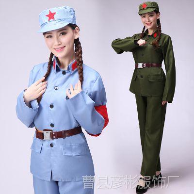 成人儿童小八路军演出服红军服抗战服装红卫兵服表演衣服舞蹈军装