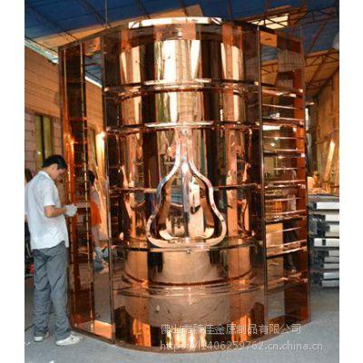供应现代中式高端定制豪华弧形异形不锈钢酒架酒柜厂家