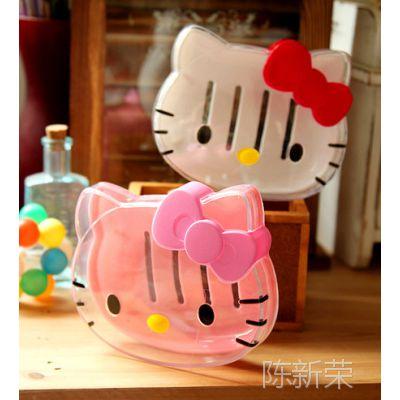 Hello Kitty KT 可爱卡通 头形 透明 香皂盒 肥皂盒 香皂盘