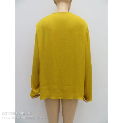 2019年春季新款外贸原单女士纯色长袖雪纺衫