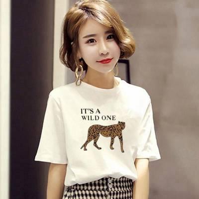 2019年春夏t恤女装韩版短袖女式T恤女士圆领半袖体恤地摊便宜批发