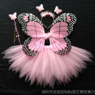 三件套儿童蝴蝶翅膀服装万圣节小孩饰品女童衣服娃娃新款仙女演出