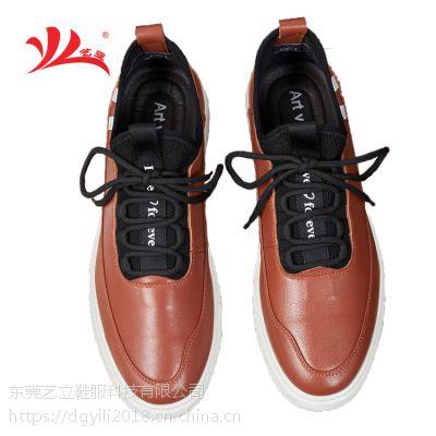 艺立创意潮流 真皮黑色低帮男鞋