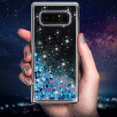 奢华时尚闪亮飘逸彩色流沙壳Galaxy Note8手机壳保护套三星蓝爱心