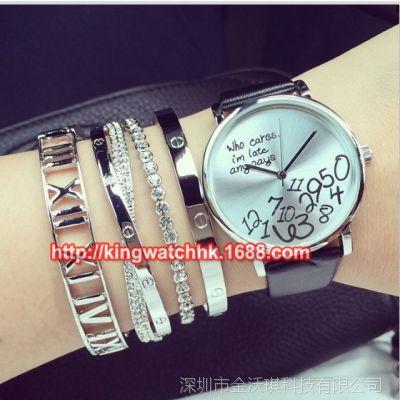 手表批发 时尚热卖 who cares, 字母手表仿水学生皮带手表女表