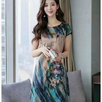 19夏季爆款卡米兰时尚真丝连衣裙 品牌 尾货批发走份