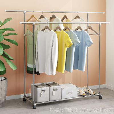 家用伸缩凉衣架落地卧室内阳台晾衣杆单杆式晒衣架折叠挂衣服架子