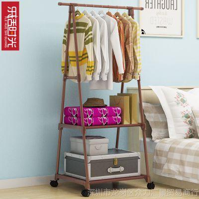 简易衣帽架可移动挂衣架家用卧室衣架落地挂衣架创意衣服架多功能