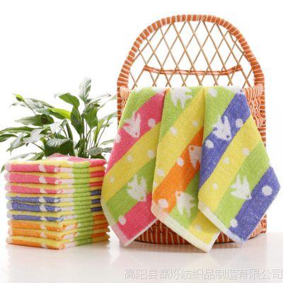厂家直销纯棉幼儿园专用小方巾小鱼图案口水巾 母婴用小手帕毛巾