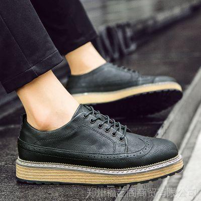 厂家直销秋季潮鞋男鞋子韩版男士休闲增高板鞋布洛克皮鞋