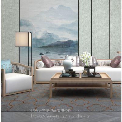 厂家直销 新绣 新中式手绘山水无缝墙布 X15