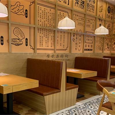 汕头简约板式木纹卡座沙发桌子组合案例实拍