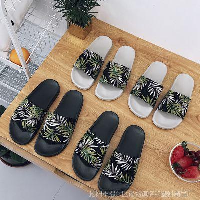 2018百搭拖鞋女夏度假休闲防滑平底鞋布面绿色叶子拖鞋新款时尚
