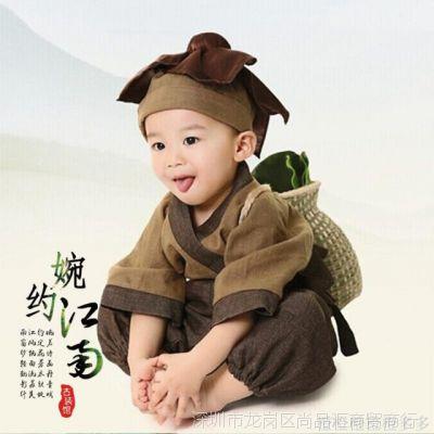 舞蹈衣服古装服装套装男儿童演出服古代农夫渔夫樵夫书童女舞台装