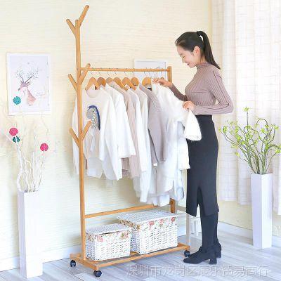 衣服落地挂衣架实木组装家用卧室房间客厅立体多功能衣帽架架子