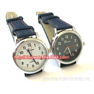 热卖 Geneva 手表 日内瓦手表, 帆布皮带手表 男表女表外贸表
