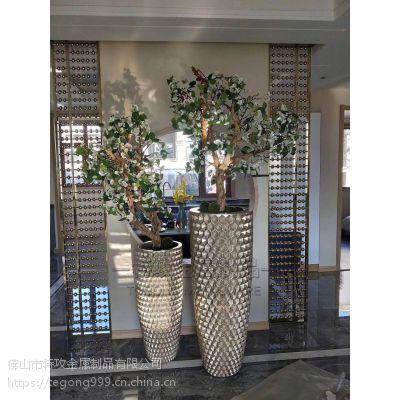 【特攻不锈钢花器厂家】欧式手工金属花钵|香槟金不锈钢花器定制