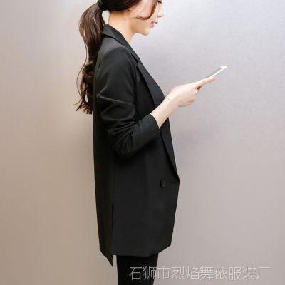 2018春季女装新款气质修身中长款小西服女士休闲显瘦西装外套